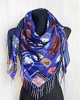 Теплый платок Cashmere Кошки 110*110 см синий, фото 1