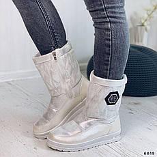Ботинки женские серые, зимние из эко замши. Черевики жіночі теплі сірі на платформі, фото 3