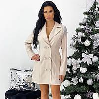 Бежевое платье-пиджак с плечиками, фото 1