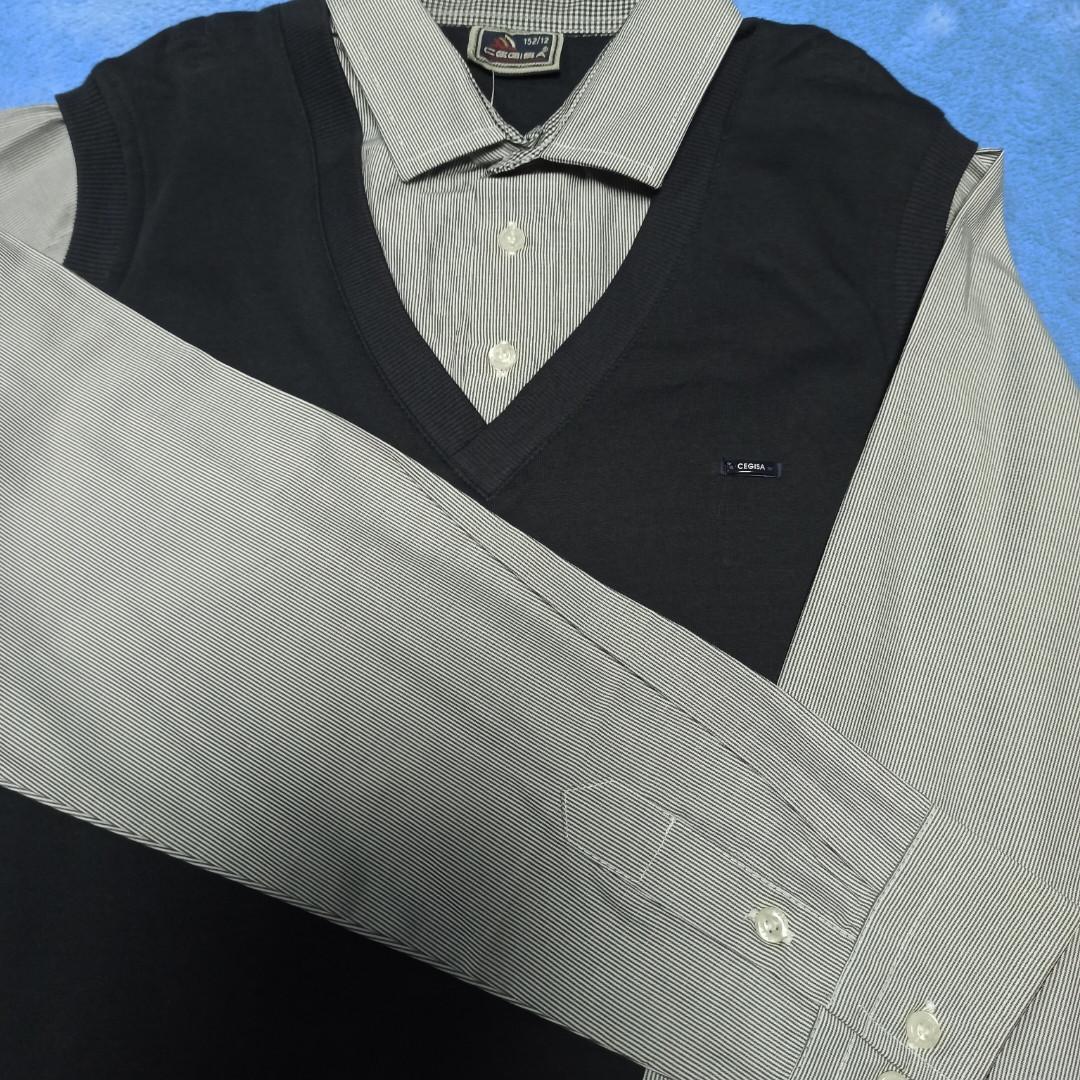 Джемпер- обманка нарядный модный красивый классический для мальчика. Рукав- рубашечная ткань. жилет- трикотаж.