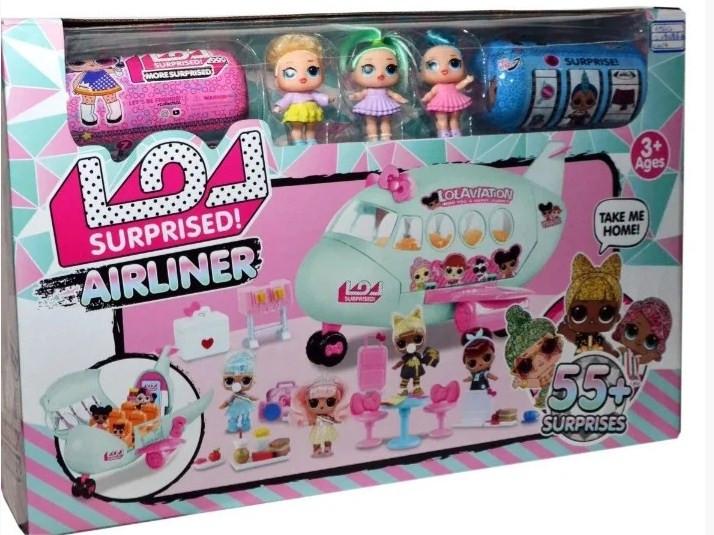 Игровой набор кукол Лол с самолетом ,с дополнительными аксессуарами.