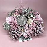 Новогодний венок с подсвечником в розовом цвете, фото 2