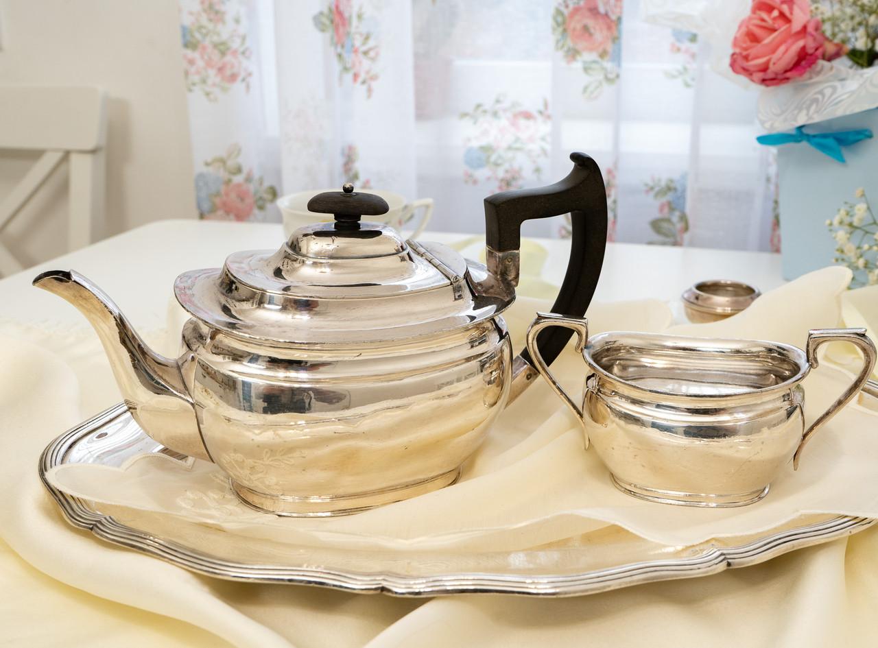 Английский посеребренный заварочный чайник и сахарница, серебрение, Англия