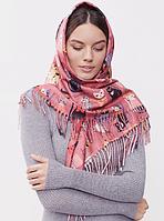Теплый платок Cashmere Кошки 110*110 см пудровый, фото 1