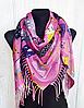 Теплый платок Cashmere Кошки 110*110 см розовый