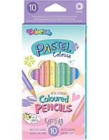 Карандаши цветные круглые, пастельные тона, 10 цветов, Colorino