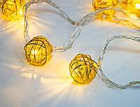 """(GIPS), Новорічна гірлянда (Xmas Golden Ball WW-1, 2м, 10 LED, жовта) світлодіодна """"дротяні кульки"""""""