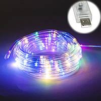 (GIPS), Гірлянда для вулиці і будинку світлодіодна ЛЕД  (різнокольорова, дюралайт, 100 LED, 9 м, прозора, від USB)