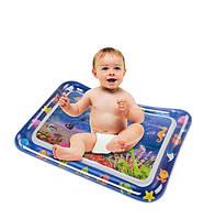 """Детский водный коврик """"прямоугольный с дельфинами"""" надувной водяной акваковрик для детей с водой и рыбками,"""