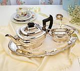 Английский посеребренный заварочный чайник и сахарница, серебрение, Англия, фото 2