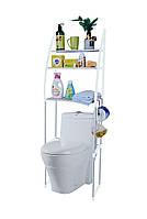 Полка в туалет пластик/металл белая высота 150 см., этажерка над унитазом | стелаж над унітазом, Этажерки для