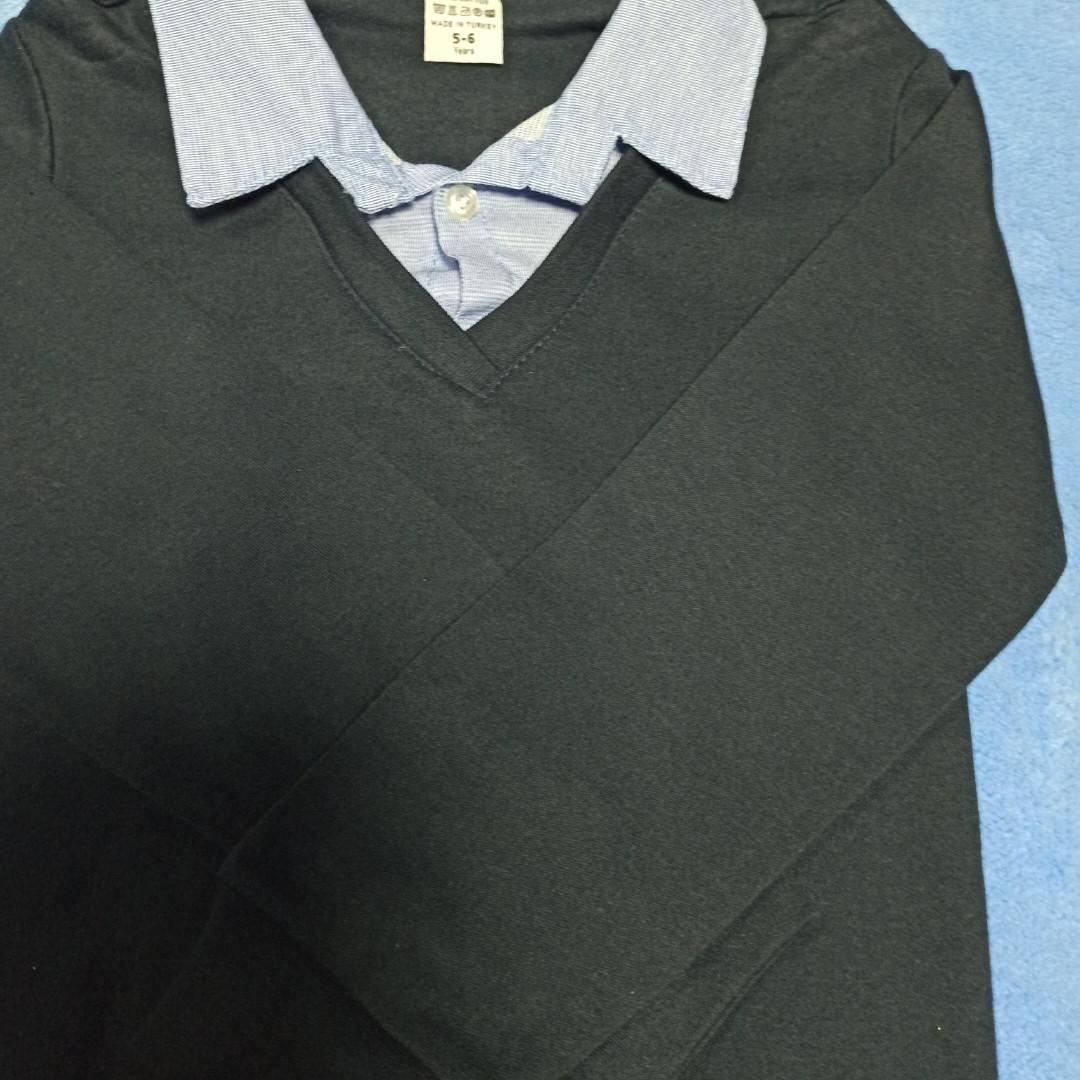Джемпер- обманка модный красивый нарядный синего цвета для мальчика. Воротник- рубашечная ткань.Верх- трикотаж