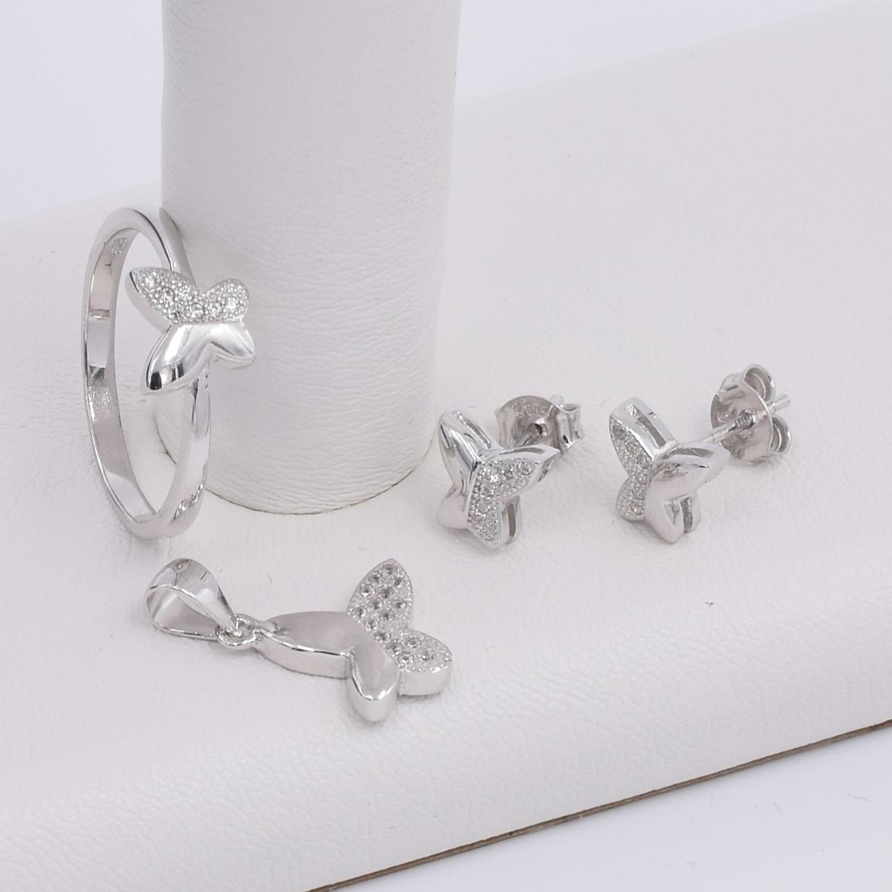 Серебряный набор кольцо размер 18.5 + серьги 8х8 мм + кулон 20х13 мм вставка белые фианиты вес 6.6 г
