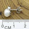 Серебряные серьги гвоздики размер 9х8 мм вставка искусственный жемчуг вес 2 г, фото 2
