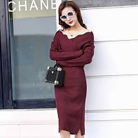 Сукня жіноча елегантне чорне з трикотажу, тепле