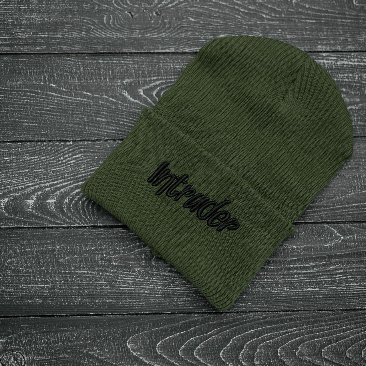 Мужская | Женская шапка Intruder зимняя big logo хаки Intruder