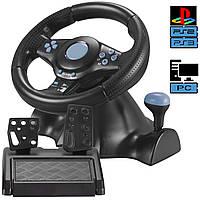 Игровой руль для ПК Vibration Steering wheel руль с педалями и коробкой передач для компьютера PC/PS3/PS2