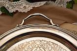 Шикарный посеребренный круглый поднос с ручками, серебрение по латуни, США, винтаж, фото 3