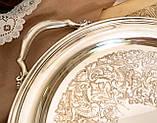 Шикарный посеребренный круглый поднос с ручками, серебрение по латуни, США, винтаж, фото 4