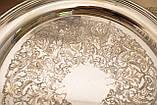 Шикарный посеребренный круглый поднос с ручками, серебрение по латуни, США, винтаж, фото 6