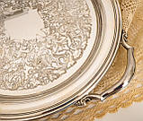 Шикарный посеребренный круглый поднос с ручками, серебрение по латуни, США, винтаж, фото 8