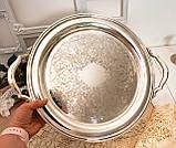 Шикарный посеребренный круглый поднос с ручками, серебрение по латуни, США, винтаж, фото 9