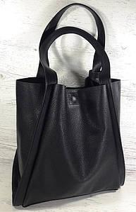 151-3 Натуральная кожа Сумка женская черная Сумка шоппер черная Сумка шоппер кожаная Сумка мягкая натуральная