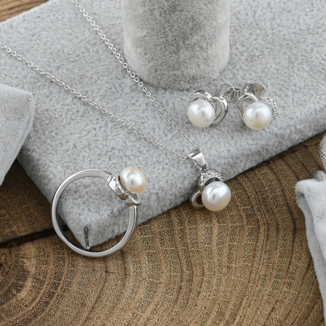 Серебряный набор кольцо + цепочка 40+5 см + серьги 8х10 мм + кулон 18х8 мм вставка искусственный размер 17