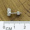 Серебряные серьги гвоздики размер 8х8 мм вставка белые фианиты вес 2.3 г, фото 5