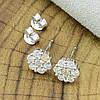 Серебряные серьги гвоздики размер 8х8 мм вставка белые фианиты вес 2.3 г, фото 6