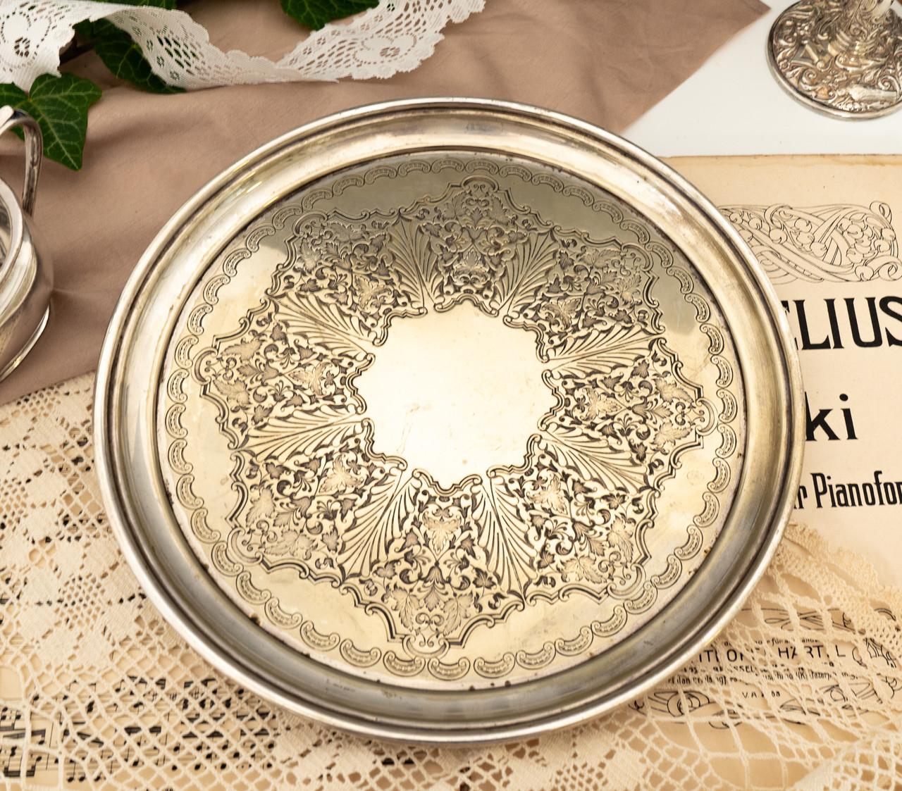 Антикварный посеребренный круглый поднос, серебрение по латуни, Англия, Walker & Hall