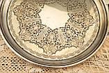 Антикварный посеребренный круглый поднос, серебрение по латуни, Англия, Walker & Hall, фото 6