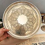 Антикварный посеребренный круглый поднос, серебрение по латуни, Англия, Walker & Hall, фото 7