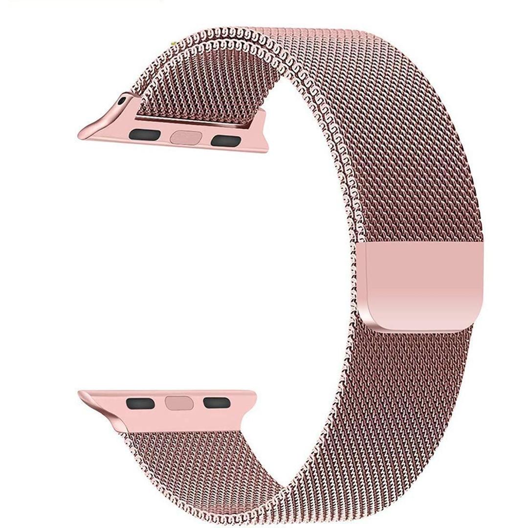 Магнитный ремешок Milanese Loop для Apple Watch 42 / 44 | Rose Gold | DK
