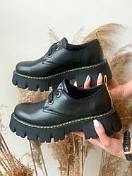 Женские туфли кожаные весна/осень черные Road-style C-069/2-01 Матовые
