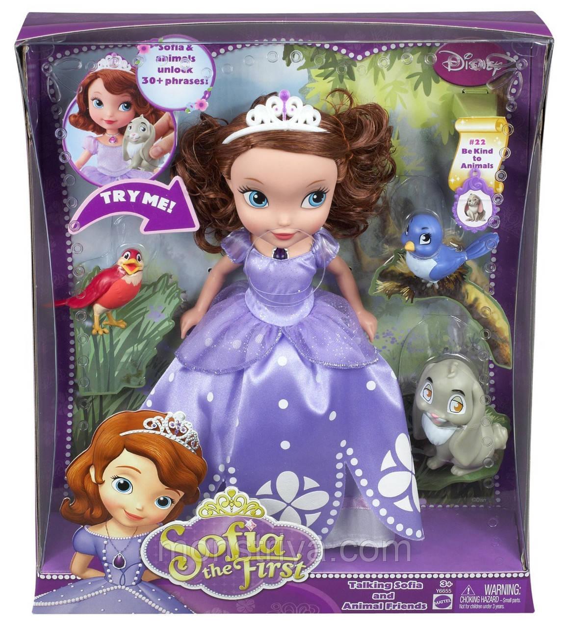 Кукла принцесса София с питомцами от Disney Говорящая