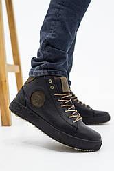 Мужские ботинки кожаные зимние черные-оливковые CrosSAV 335