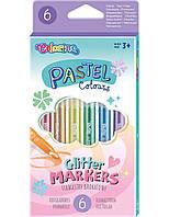 Маркеры с блестками, пастельные цвета, 6 цветов, Colorino