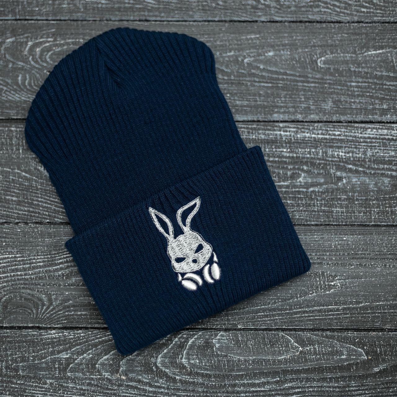 Шапка Мужская | Женская Intruder зимняя bunny logo синяя Intruder