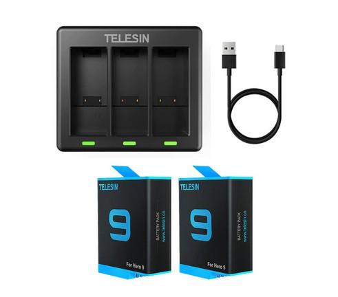 Набор Telesin: Зарядное устройство на три места + два аккумулятора для GoPro HERO 9 Black