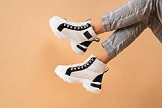 Женские кроссовки кожаные зимние белые-черные CrosSAV 345