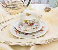 Немецкая чайная тройка, фарфоровая чашка, блюдце и десертная тарелка, Rosenthal, кoллекция Маriа Sommerstraus