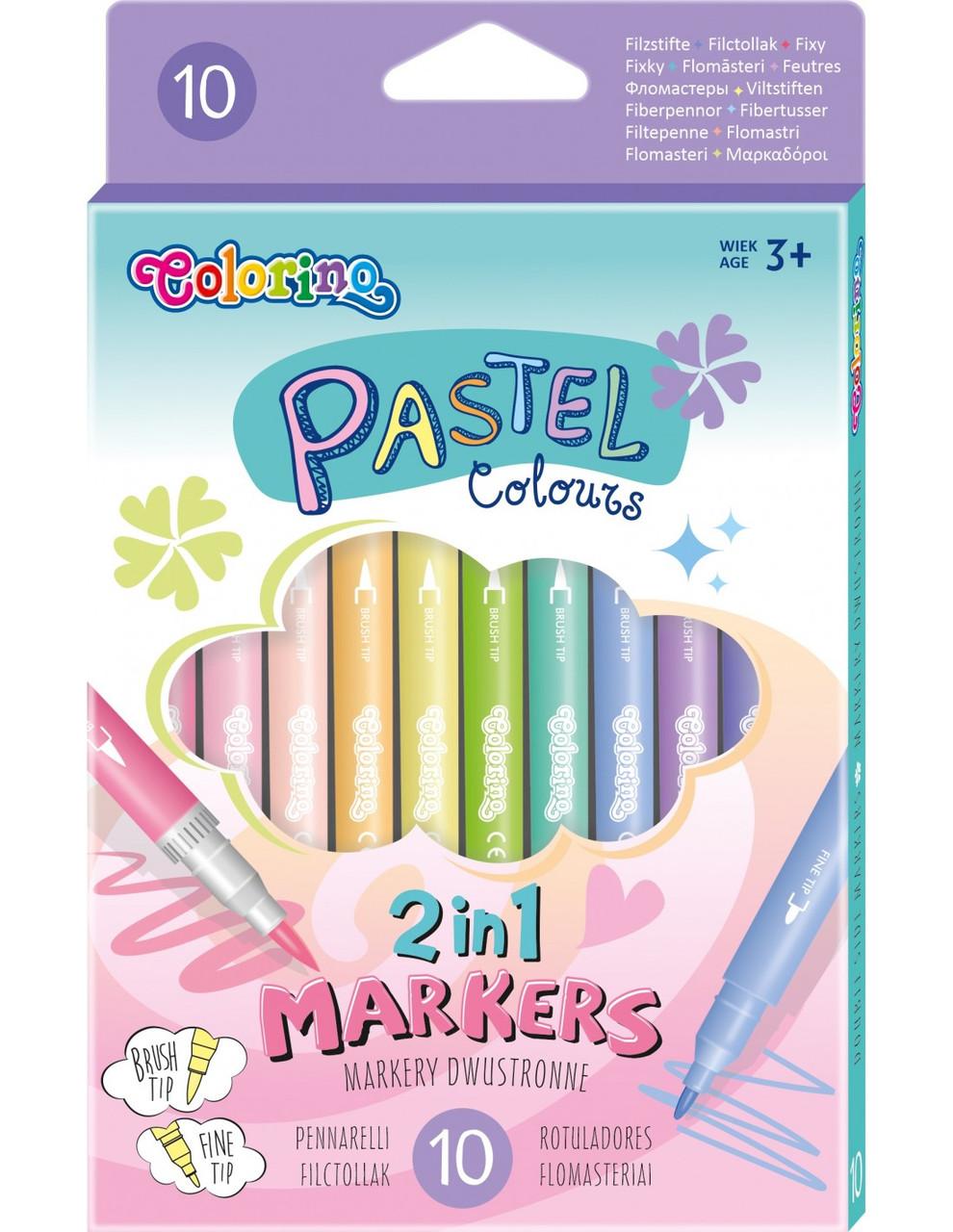Фломастеры двухсторонние , два вида толщины линии  (4 мм и 0,7 мм), 10 пастельных цветов, Colorino