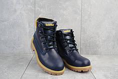 Подростковые ботинки кожаные зимние синие Monster T