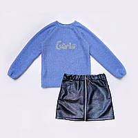 Костюм для девочки р.134,140,146,152,158 свитер и юбка SmileTime Holiday, синий