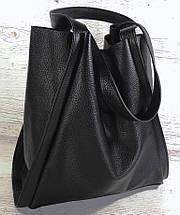151-3 Натуральная кожа Сумка женская черная Сумка шоппер черная Сумка шоппер кожаная Сумка мягкая натуральная, фото 3