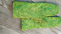 Валяные варежки из шерсти и волокон шелка, мокрое валяние, войлок ручная работа, подарок для девушки, фото 1