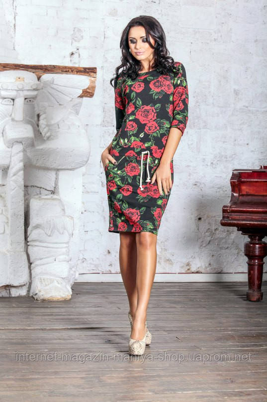 Женское платье цветы двух нитка