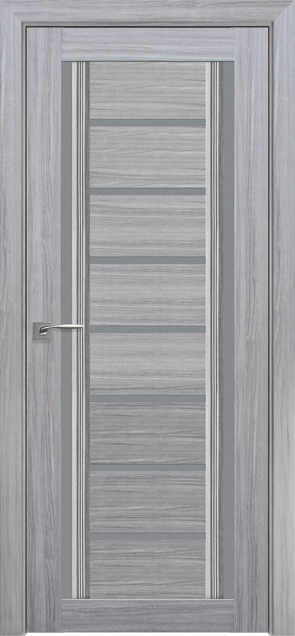 """Дверь межкомнатная """"Новый Стиль"""" модель Флоренция С2, жемчуг серебряный (стекло графит )"""