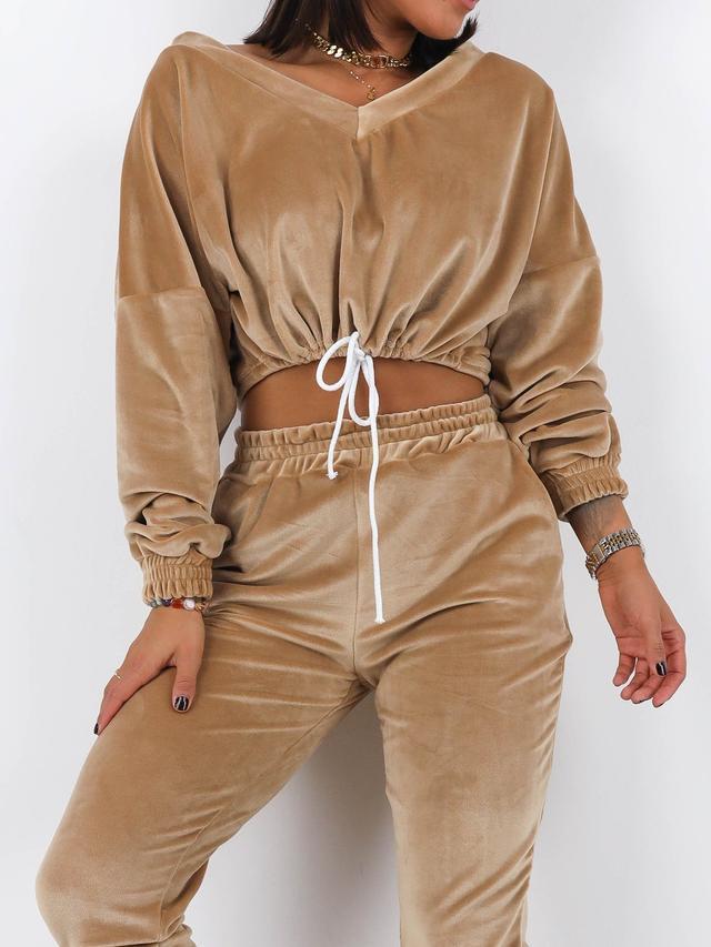 Женский плюшевый спортивный костюм-двойка топ и штаны
